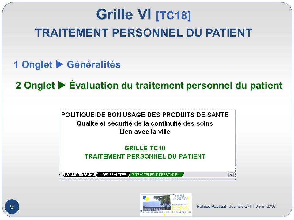 Grille VI [TC18] TRAITEMENT PERSONNEL DU PATIENT